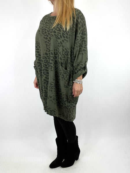 Lagenlook Jo Leopard Fade Print Sweatshirt Top in Khaki. code 66237 - Lagenlook Clothing UK