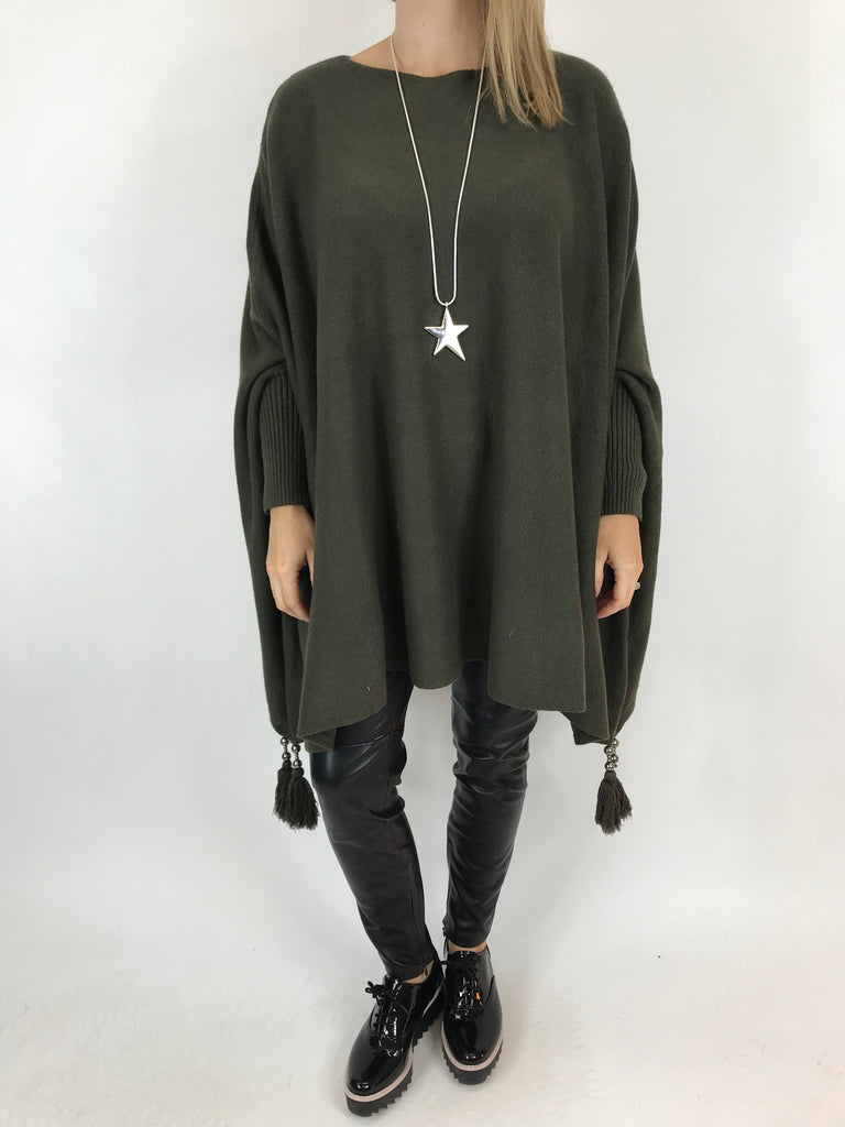 Lagenlook Ella Tassel Jumper in Khaki. code 2700 - Lagenlook Clothing UK