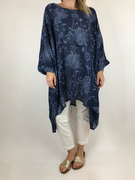 Lagenlook Rachel Flower Poncho In Navy. code 6363