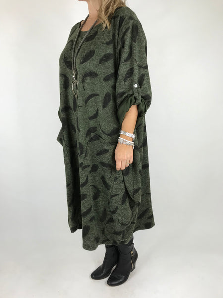Lagenlook Feather Print Tunic In Khaki. code 8849