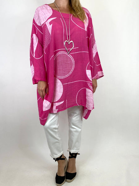 Lagenlook Camilla Patterned Top in Fuchsia. code 91007