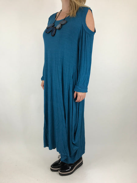 Lagenlook Alley Cold Shoulder Tunic in Teal. code 1026