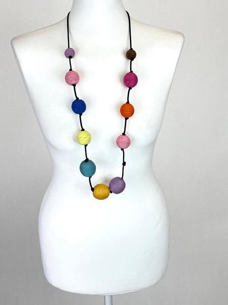 Lagenlook Multi Pastel thread beads Necklace code MX-478 - Lagenlook Clothing UK