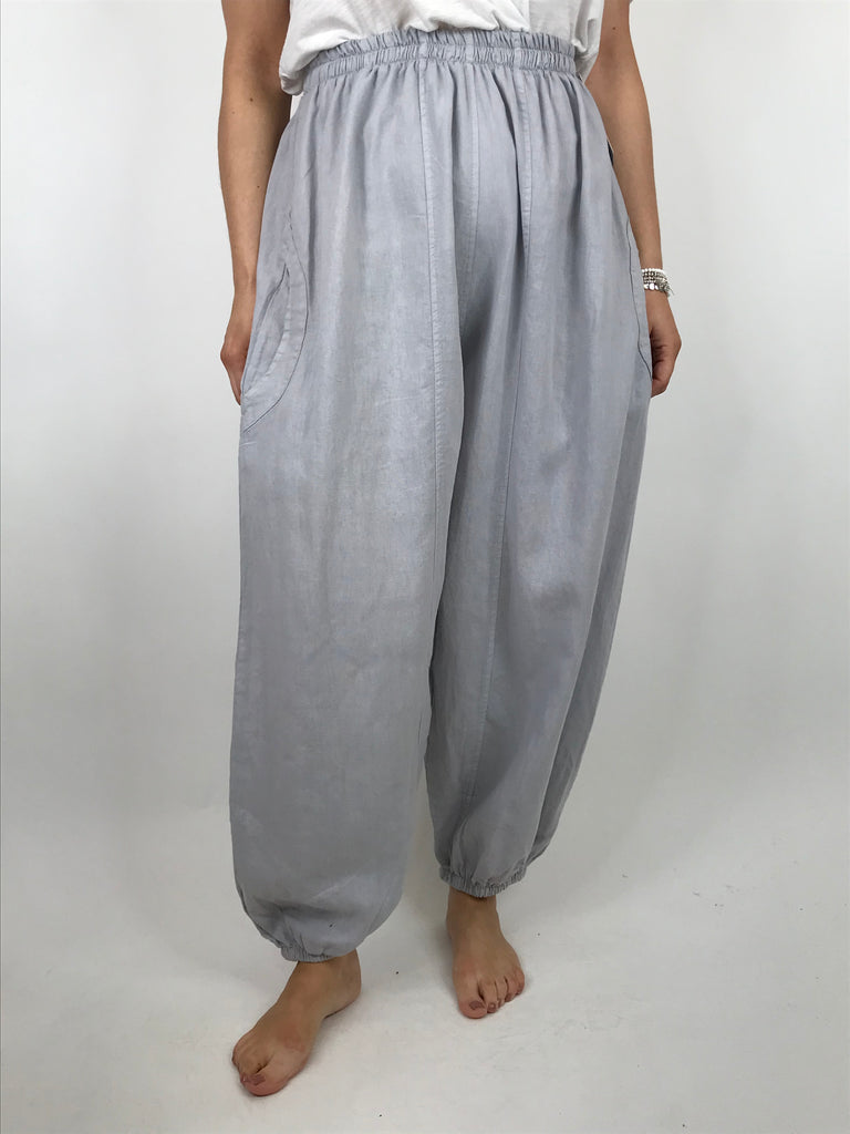 Lagenlook Charlie New Length Wide leg Linen Trousers in Grey. code 91037