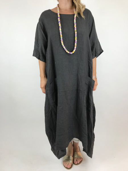 Lagenlook Lola Pocket Linen Tunic in Charcoal Grey. code 18254