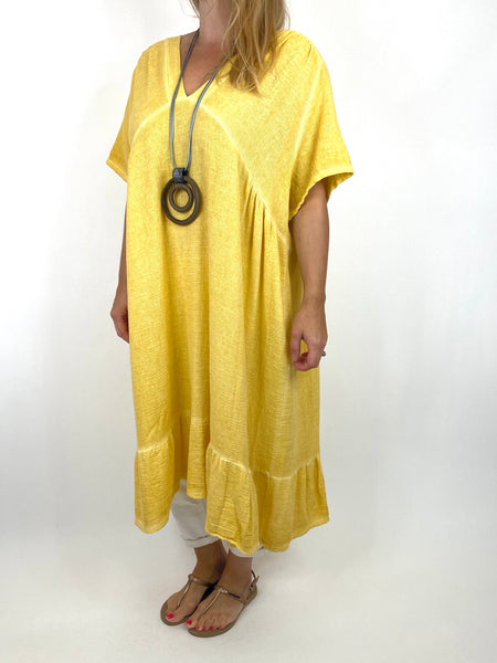 Lagenlook Horton Washed V-Neck top in Banana . code 10436