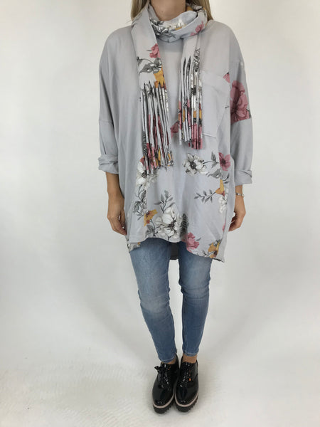 Lagenlook Sammy Flower Panel Scarf Top in Light Grey. code 5599