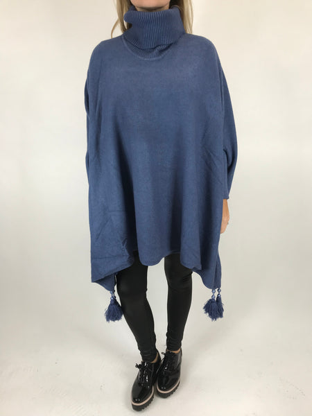Lagenlook Melody Oversized Jumper in Denim. code 2692 - Lagenlook Clothing UK