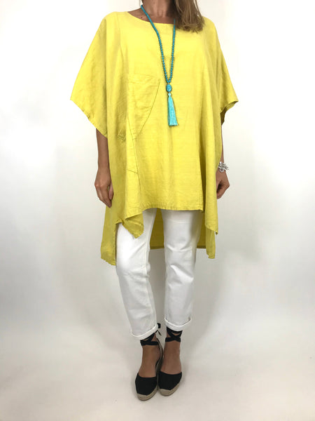 Lagenlook Chloe Pocket Front Top in Yellow. code 6372