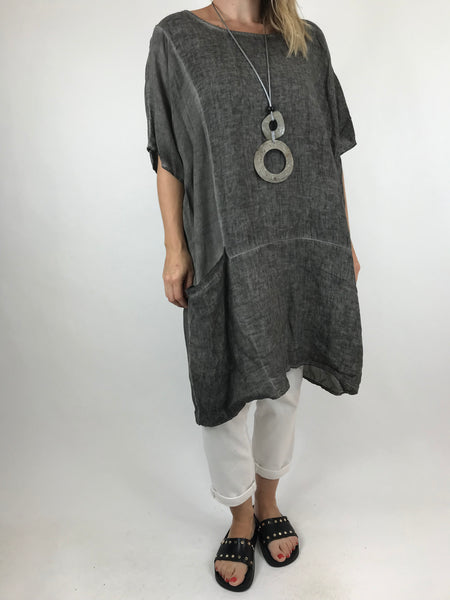 Lagenlook Quirky Janine Top in Charcoal. code 5798