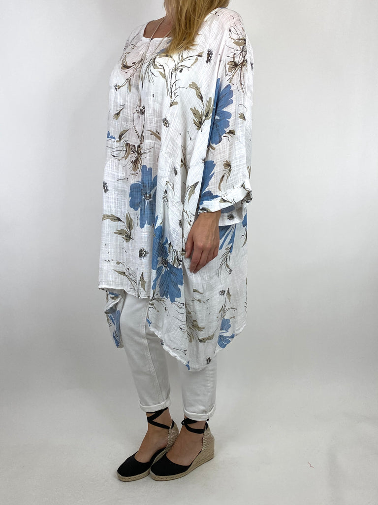 Lagenlook Monica Flower Top In White. code 7365