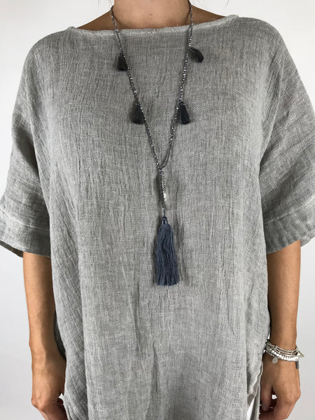 Lagenlook Multi Tassel With Angel Wing necklace. code PP1801GY