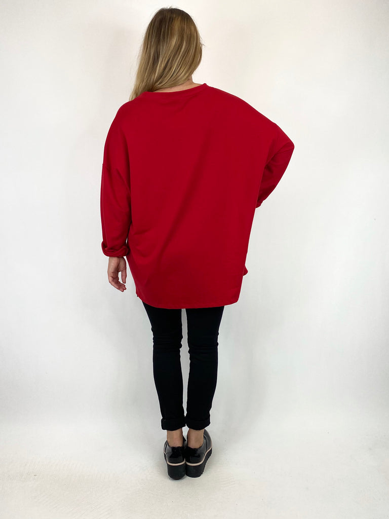 Lagenlook Reflection Sweatshirt in Red .code 91146 - Lagenlook Clothing UK