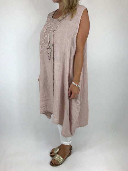 Lagenlook Side Button Linen Top in Pale Pink. code 5843