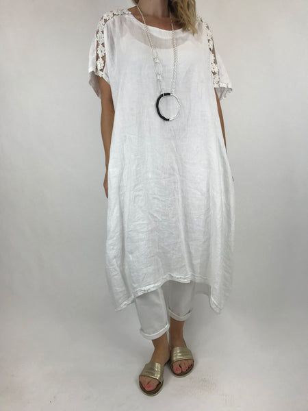 Lagenlook Lace Shoulder Linen Top in White. code 5911
