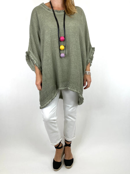 Lagenlook Marie Washed Fray Hem top in Khaki. code 10322