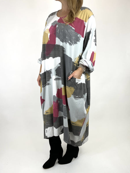 Lagenlook Elin Paint Splash Print Tunic in Pale Grey. code 9807