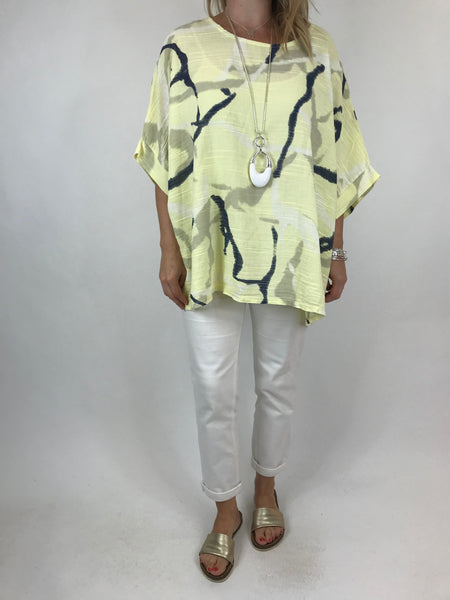 Lagenlook Lizzy Cotton Summer Top in Lemon. code 19460