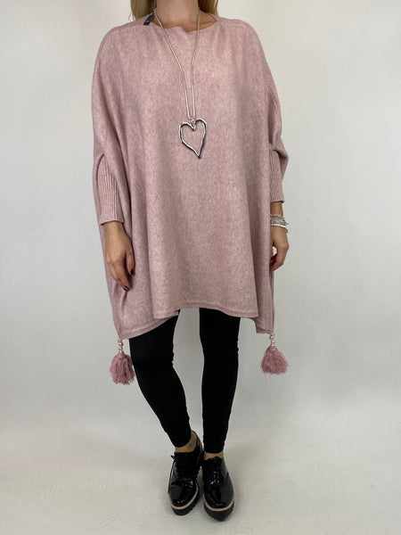 Lagenlook Ella Tassel Jumper in Winter Pink. code 2700 - Lagenlook Clothing UK
