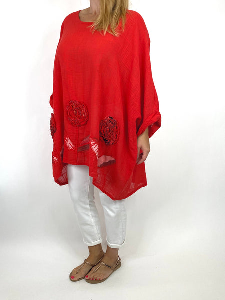 Lagenlook Dalia Flower hem in Red. Code 90969