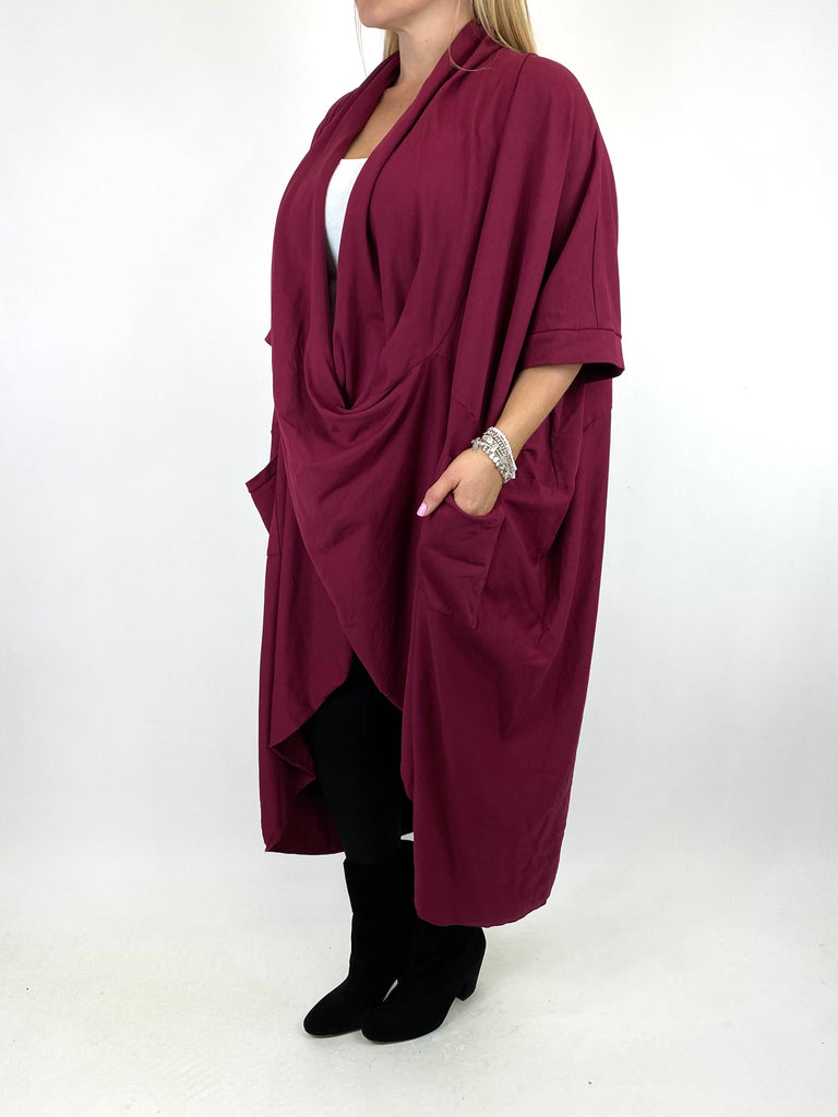 Lagenlook Mena Wrap Dress Top in Wine. code 8307
