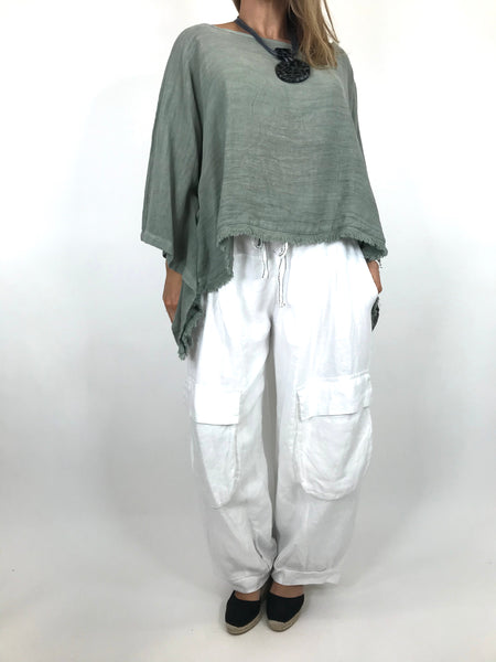 Lagenlook Raw Edge Short Linen layering top in Khaki. code 02246
