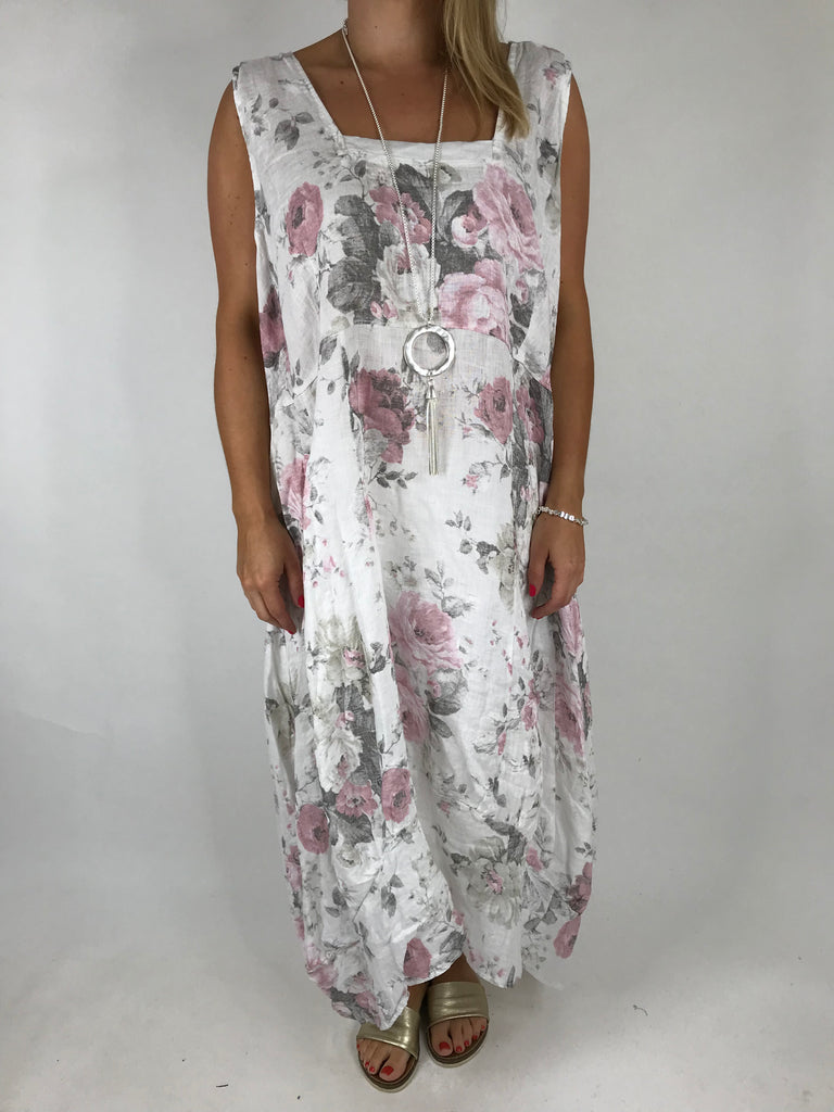 Lagenlook Emily Square neck linen Flower Print Dress in White. code 5697