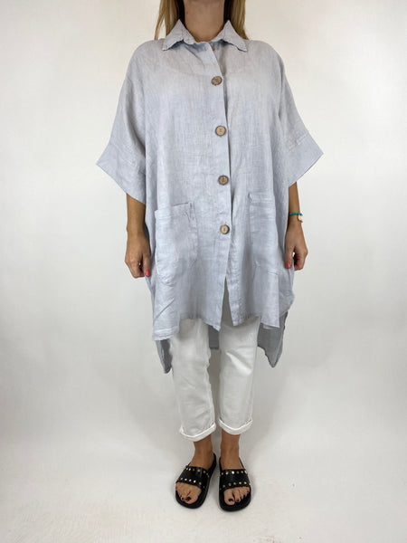 Lagenlook Beyton Linen Shirt 30+ Size in Pale Grey. code 2459