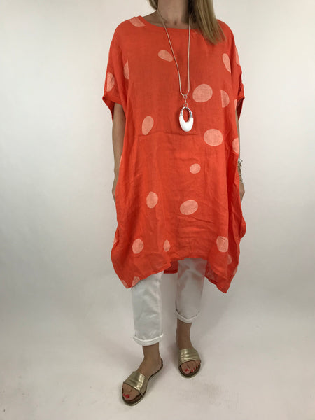 Lagenlook Lara  Dot Linen Tunic in Orange .code 5868