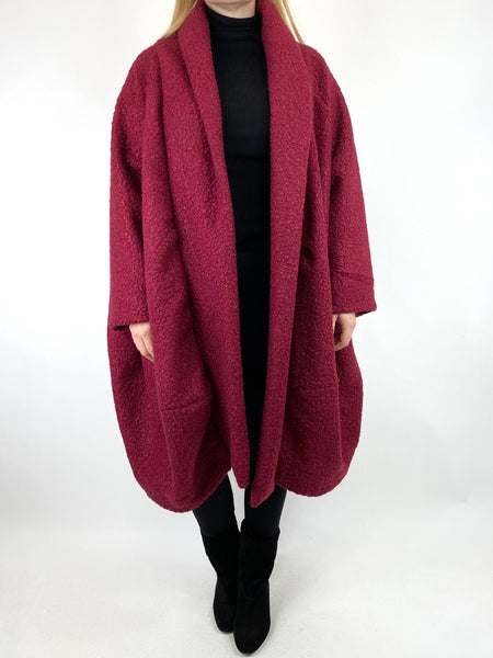 Lagenlook Bella Boucle Cocoon Coat in Wine. code 66302 - Lagenlook Clothing UK