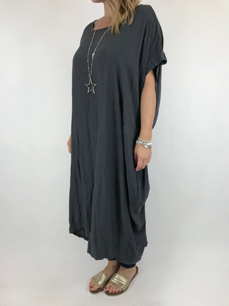 Lagenlook Dellila Knot Back in Charcoal. code 5827