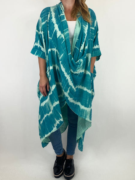 Lagenlook Cotton Tye-Dye Wrap Top in Aqua. code 8308 - Lagenlook Clothing UK