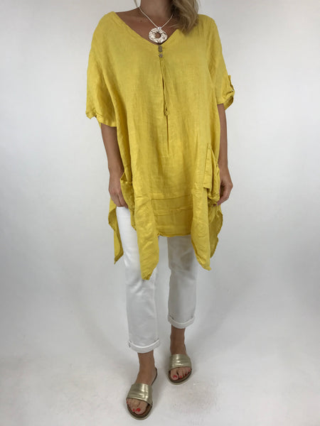 Lagenlook 3 button Linen Top in Yellow. code 5788