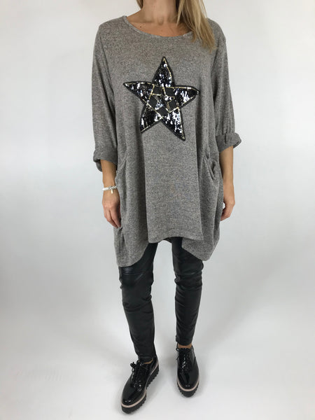 Lagenlook Star  Brushed Fleck Tunic In Mocha. code 74766