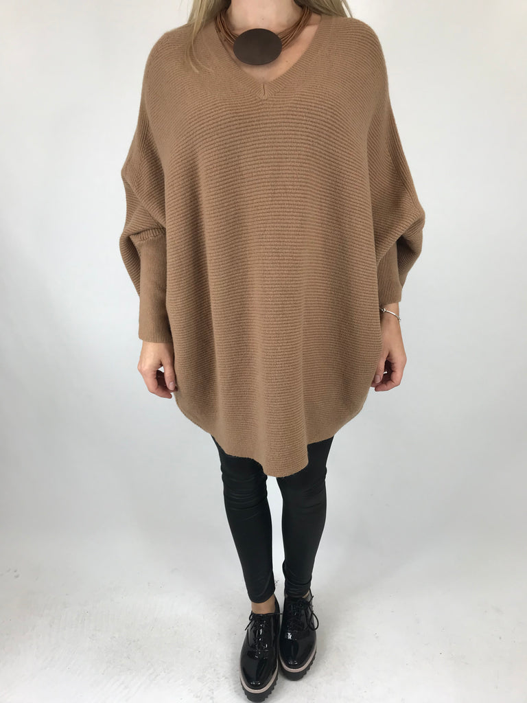 Lagenlook Bamford V-Neck Jumper in Camel. code 5418