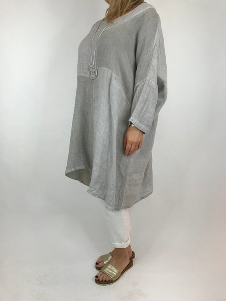 Lagenlook Mia Linen Top in Grey. code 5733