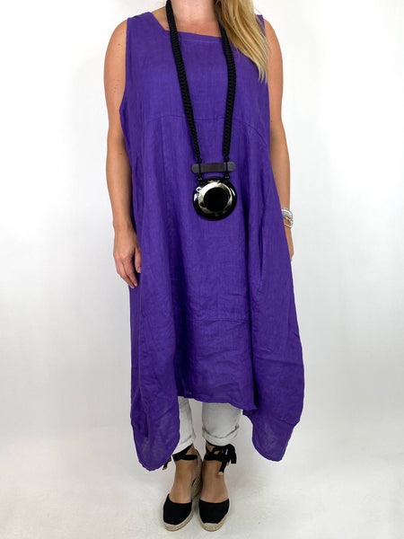 Lagenlook Bella Linen Square neck tunic in Purple. code 8262