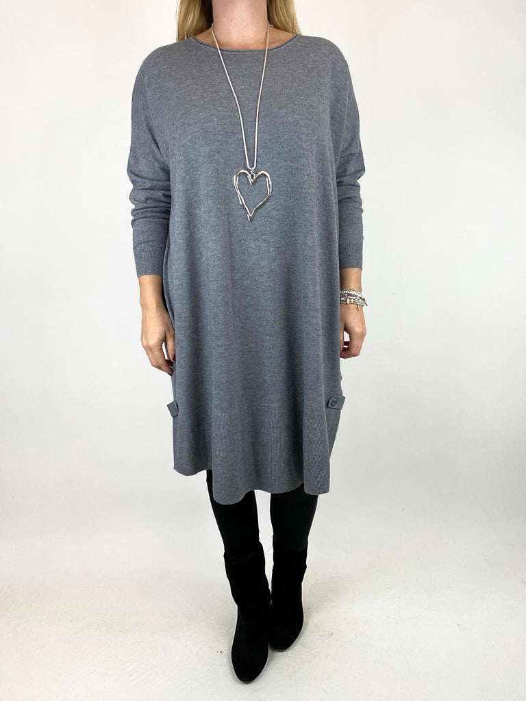 Lagenlook Patsy Button tab detail jumper in Grey. code 2566