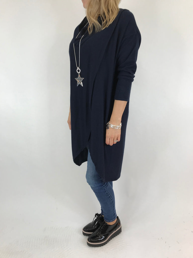 Lagenlook Erin Roll Neck Fold Front  Knitted Top in Navy. code 5594