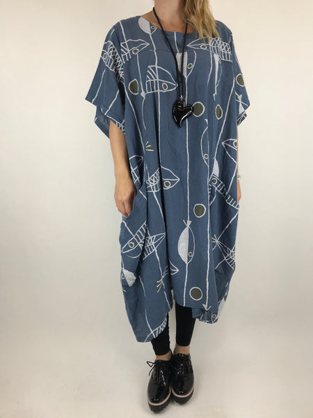 Lagenlook Linen Blend Quirky Patterned Tunic in Denim. code 39113