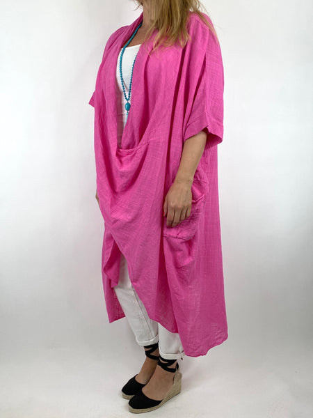 Lagenlook Cotton Wrap Dress Top in Fuchsia. code 8307 - Lagenlook Clothing UK