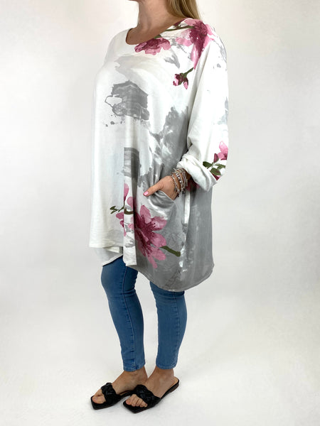 Lagenlook Hetty Flower Top in White. code 90646 - Lagenlook Clothing UK