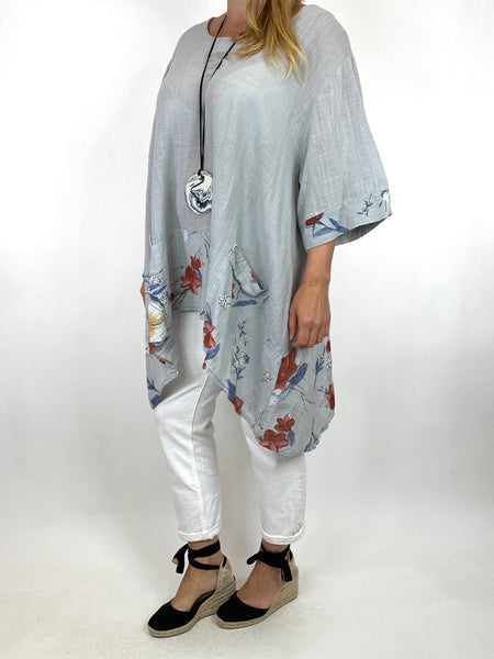 Lagenlook Sam Flower Hem Cotton Top in Pale Grey.code 10017