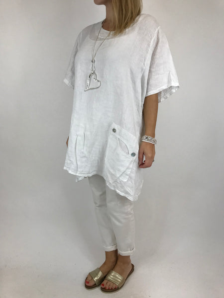 Lagenlook Robyn Button Pocket Linen Top in White. code 90966