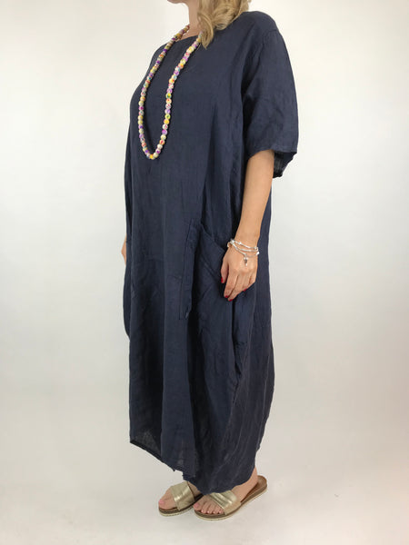 Lagenlook Lola Pocket Linen Tunic in Navy. code 18254