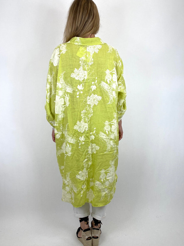 Lagenlook Seren  Floral Shirt Linen Top in Lime. code 6593 - Lagenlook Clothing UK