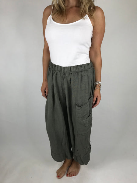Lagenlook Cropped Linen Trouser in Khaki. code 5229