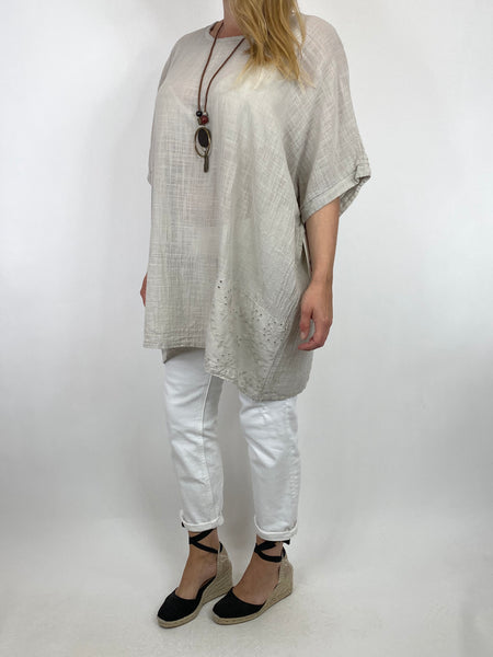 Lagenlook Kia Broderie Anglaise Top in Cream. code 9046