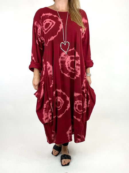 Lagenlook Celeste Tie-dye Side Pocket Tunic in Wine .code 9904 - Lagenlook Clothing UK