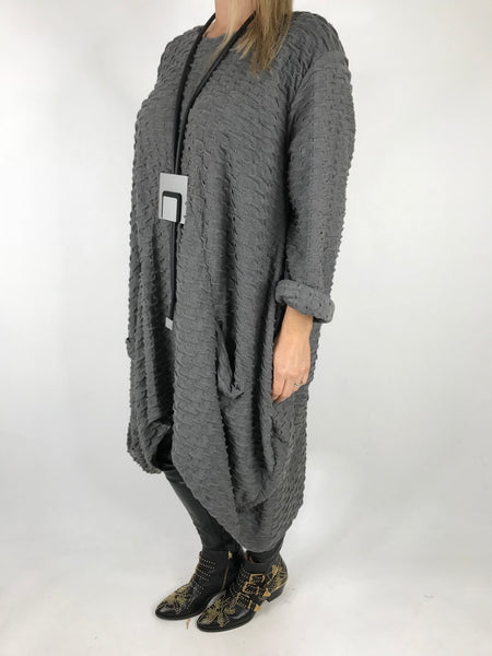 MB GERMANY Textured Waffle Tulip Tunic in Mid Grey. code MB413